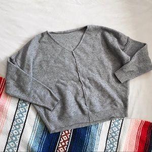 Sweaters - Gray Exposed Seam V Neck Sweater